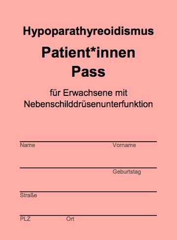 Titelblatt Hypopara Patientinnen und Patienten Ausweis