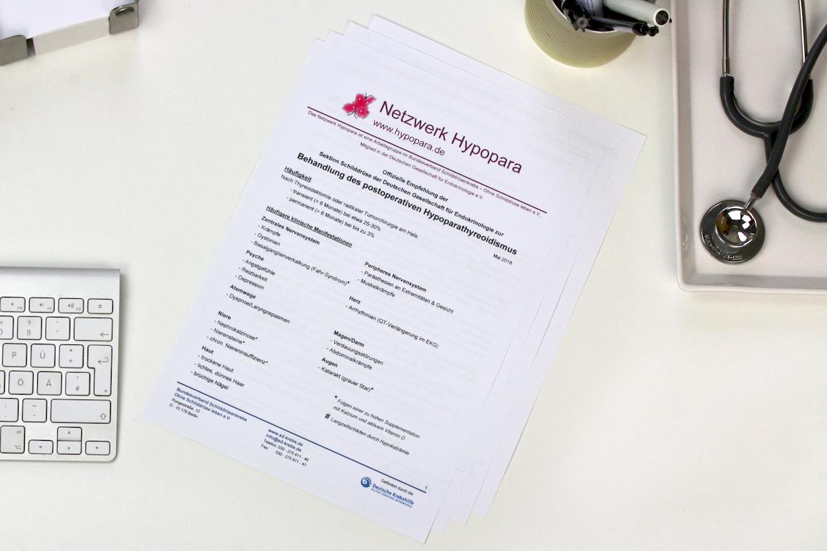 Behandlungsempfehlungen für Nebenschilddrüsenunterfunktion/ Hypoparathyreoidismus nach Schilddrüsen Operation
